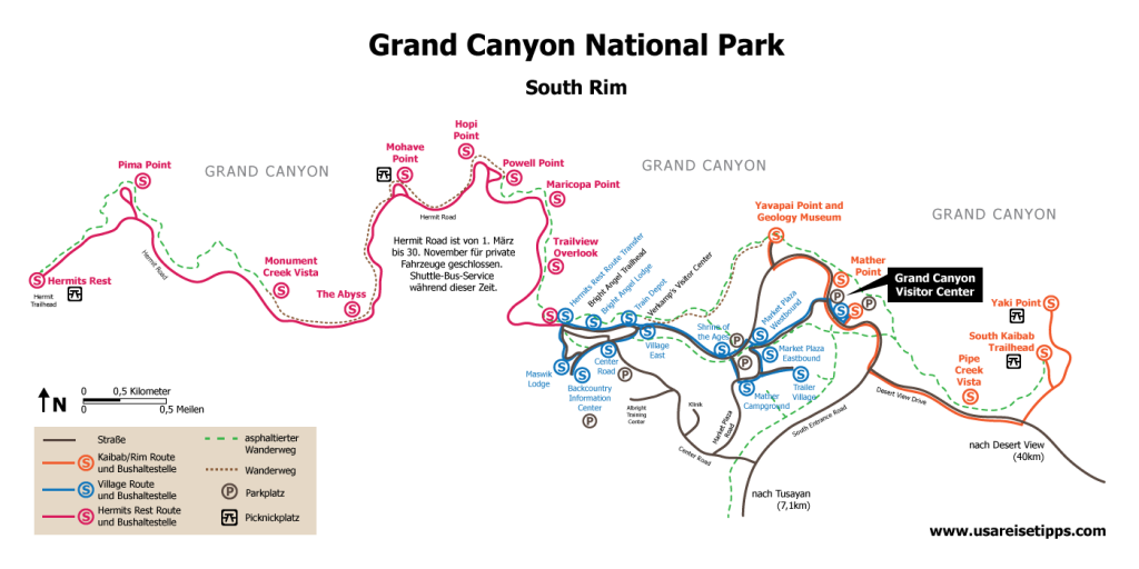 Grand Canyon National Park Karte: Trails, Viewpoints & Wanderwege
