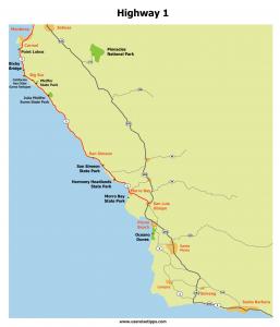 Highway 1 Karte: Parks und Sehenswertes