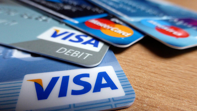 Ansammlung von Kreditkarten