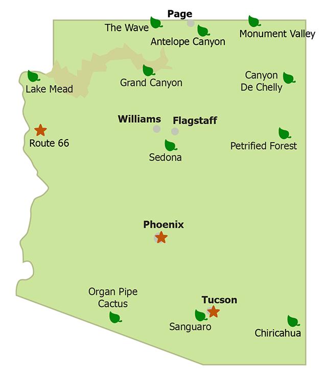 Sehenswürdigkeiten von Arizona auf einer Karte