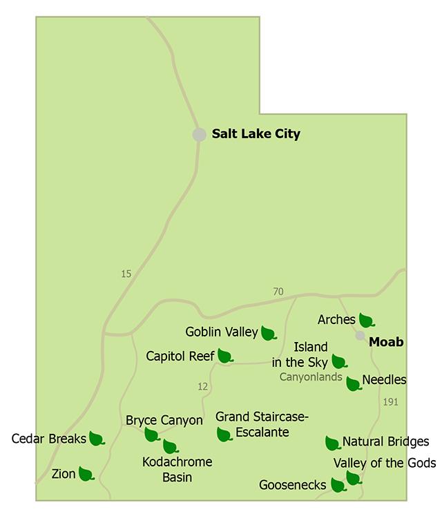 Sehenswürdigkeiten von Utah auf einer Karte